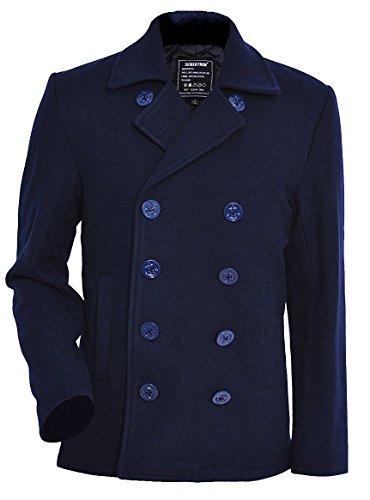 Seibertron Herren Wollmantel PEA Coat USN Marine Jacke Herren Navy Peacoat Mantel Winterjacke Übergangsjacke (blau, M)