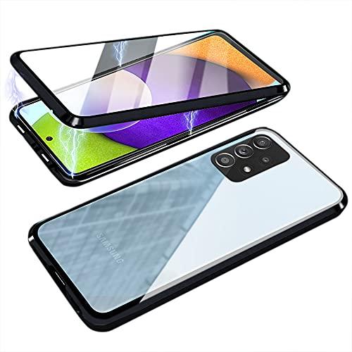 Funda para Samsung A52, magnética, de cristal templado transparente, con cámara protectora y...