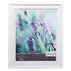 White 20x24 wall frame with double white mat opening for a 16x20 image Airfloat mat adds dimension and depth to your art by creating a shadow effect with a separated double mat feature Includes two EZ-Hanging Wall Grabber hanging brackets that can be...