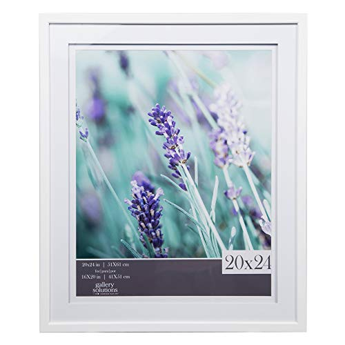 Gallery Solutions Wall Mount Double Airfloat Mat Picture Frame, 20' x 24', White/White - 17FW2263E