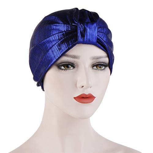 DYSCN Simple Turban Cap Bronzing Baotou Cap Multi-Function Wrap Headscarf Cap for Women Stylish Accessories, Royal Blue