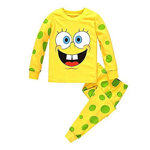 Meteora Boys Dinosaur Pajamas 2 Piece Set Long Sleeve Sleepwear 100% Cotton 2-7T (Spongebob, 2T)
