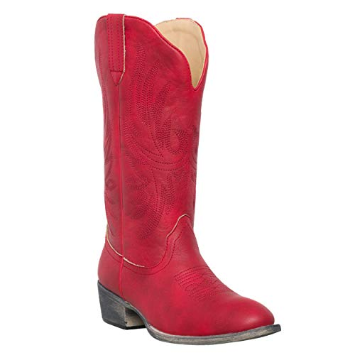 Womens+Western+Cowgirl+Cowboy+Boot++Red+Cimmaron+Round+Toe+by+Silver+Canyon