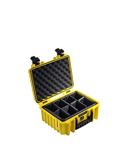 B&W Transportkoffer Outdoor Typ 3000 gelb mit variabler Facheinteilung - wassserdicht nach IP67 Zertifizierung, staubdicht, bruchsicher und unverwüstlich