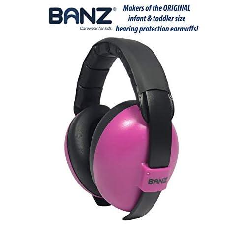 BANZ Paraorecchie morbido e confortevole con protezione apparecchi acustici per neonati e bambini piccolo (Valutazione di riduzione del rumore leader nel settore industriale) 0-2 anni medio Magenta
