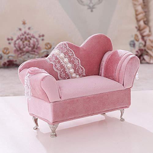 Almacenamiento del Joyero del Sofá De Los Muebles De La Tela del Terciopelo del Rosa del Cordón De La Perla-Chaise Longue