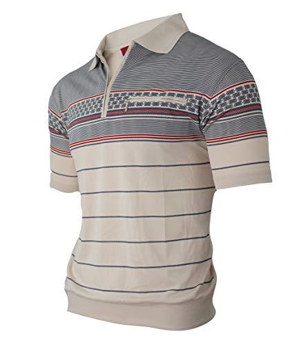 Humy Herren Kurzarm Gestreifte Polo Shirts, Kragen Polohemd, Modischen Blousonshirts mit Reißverschluss Brusttaschen (M bis 3XL) (3XL, [A] Beige)