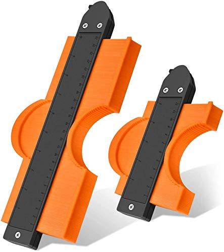YEGOOD Medidor de contorno con bloqueo, 2 unidades de precisión copia irregular duplicador de forma ajustable de plástico para medir madera, azulejos, tuberías, pisos (5 pulgadas y 10 pulgadas)