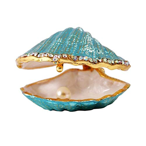 H&D Metal Glass Trinket Box Ring Holder Small Seashell Figurine Collectible Table Centerpiece (pearl mussel)