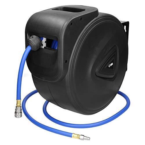 """ECD Germany Enrouleur de tuyau à air 30m - Raccord 1/4""""- pour montage mural - enrouleur automatique tuyau à air comprimé"""