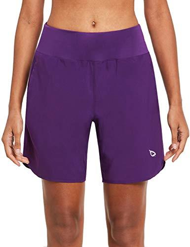 BALEAF Damen Kurze Sporthose mit Taschen für Laufen Jogging und Training Lila XL