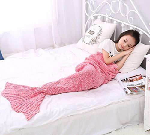 Estefanlo Manta de cola de sirena, manta de sirena para niñas, para todas las estaciones, suave y cálida manta de sirena para niños, regalos para niñas, mejor opción para regalo de cumpleaños (rosa)