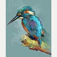 クロスステッチ大人、初心者11ctプレプリントパターン長い請求の鳥40x50cm -DIYスタンプ済み刺繍ツールキットホームの装飾手芸い贈り物40x50cm(フレームがない )