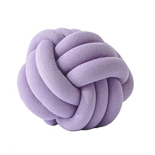 Ancoree Hand Gemacht Zierkissen Knoten-Ball Throw Pillow Einfachen Stil Abendessen Soft Wurfkissen für Auto Sofa Freundinnen Spielen-Dekorative Throw Pillow-Knoten Kissen-Dekorative Kissen (Purple)