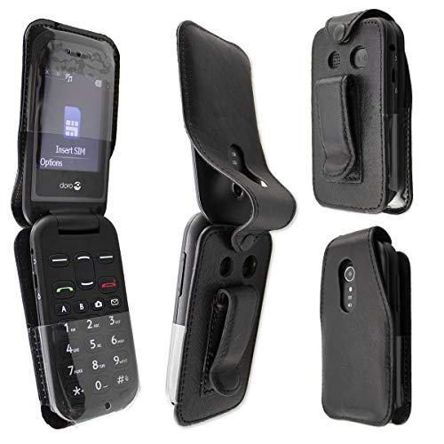 caseroxx Hülle Ledertasche mit Gürtelclip für Doro 2404 aus Echtleder, Tasche mit Gürtelclip & Sichtfenster in schwarz