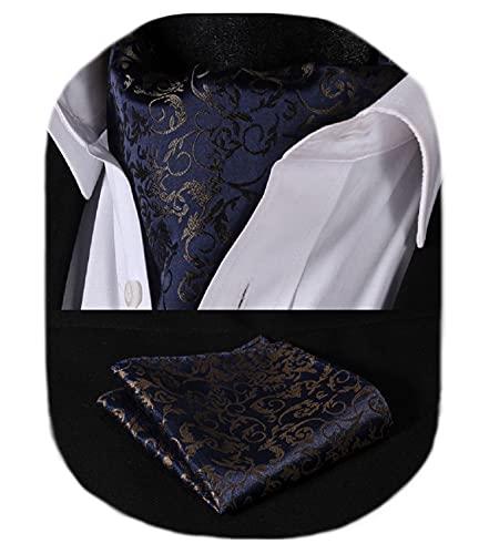 HISDERN Krawattenschal Herren Marineblaues Gold Paisley Halstuch Blumen Elegant Hochzeit Business Ascot Krawatte und Einstecktuch Set