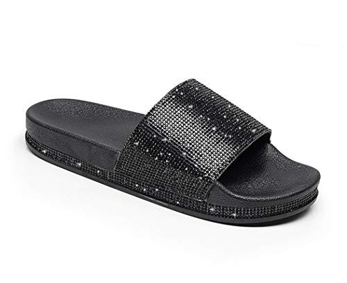 Damen Mädchen Sandalen Sommer Hausschuhe Flip Flops Mode Flache mit Strass Glitzer für Frauen Sommer Flip Flops Casual Strand Sandale Flache Schuhe (EU 39, Schwarz)
