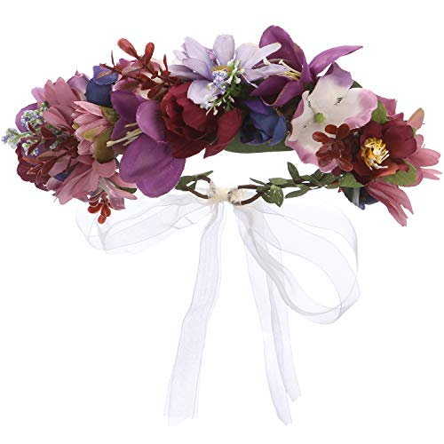 Folora Verstellbarer Blumen-Haarband Haarkranz Blumengirlande Kopfschmuck mit Band für Hochzeit Zeremonie Party Festival