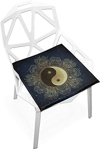 Mesllings - Cojín de asiento para silla Yin Yang Tao con símbolo de mandala, redondo, suave, antideslizante, espuma viscoelástica, cojines para el hogar, cocina, oficina, escritorio, 38 x 35 cm