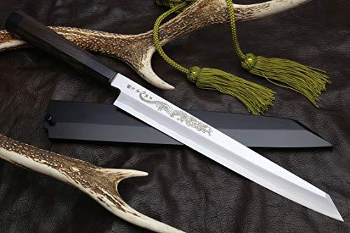 Yoshihiro Aonamiuchi Blue Steel #1 Yanagi Kiritsuke Sushi Sashimi Japanese Knife Ryu Dragon Ebony Handle (11.8'' (300mm))