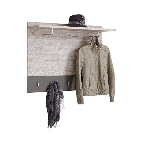 FMD furniture Wandgarderobe Hakenleiste Flurgarderobe 100 x 78 x 29 cm in Sandeiche / Grau mit Kleiderstange und 7 Haken und Ablage