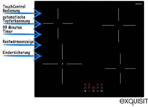 Induktionskochfeld Rahmenlos Autark | 4 Zonen & Boosterfunktion | Touch Control & Timer | 9 Leistungsstufen | Restwärmeanzeige, Topferkennung & Abschaltautomatik