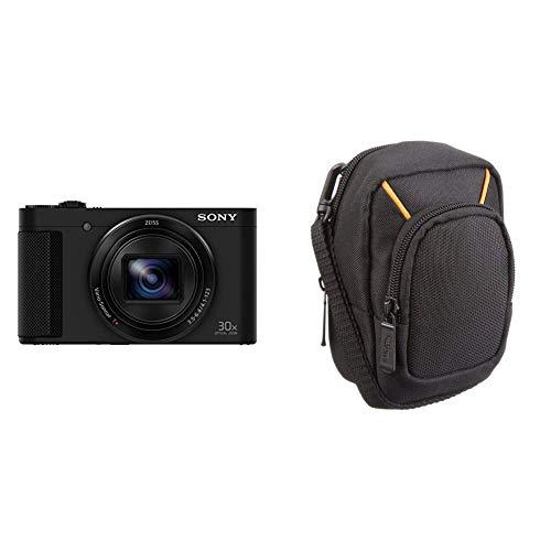 Sony DSC-HX90 Kompaktkamera (30x opt. Zoom, 60x Klarbild-Zoom, 7,5 cm (3 Zoll) Display, 5-Achsen Bildstabilisator, Full HD Video) schwarz & AmazonBasics Kameratasche für Kompaktkameras, groß