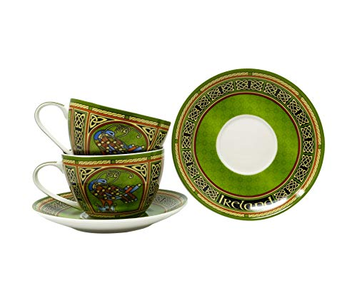 Royal Tara Irish set of 2 Celtic Peacock Cups & 2 Saucers - Irish Weave