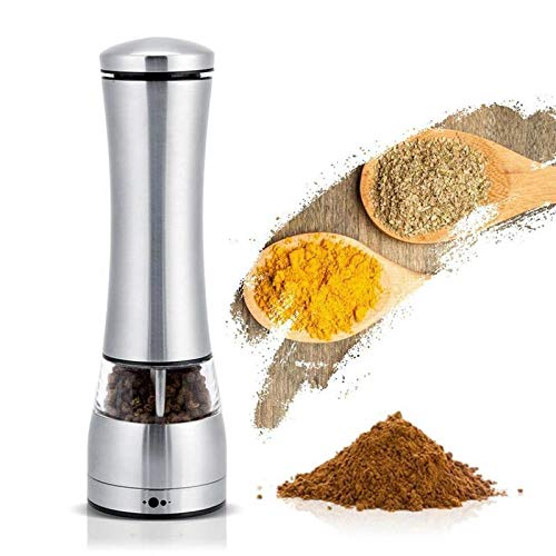 Gravity Electric Salt and Pepper Grinder, Automatic One Hand Pepper Mills with Light, Adjustable Coarseness, Stainless Steel Grinders, Best Choice for Kitchen (Color : Sliver)