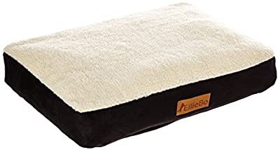 Ellie-Bo Dog Bed with Faux Suede and Sheepskin Topping for Dog Cage/ Crate Medium 30-inch