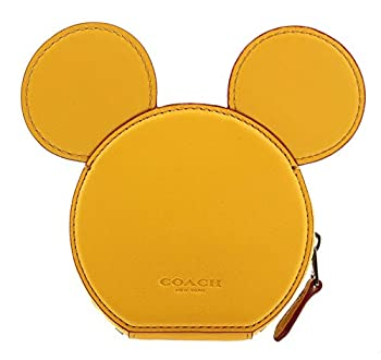 Coach Mickey Coin Case in Glove Calf Leather with Mickey Ears Banana