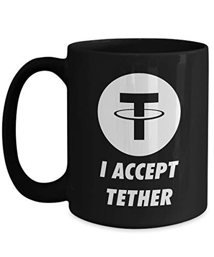 Officiell I Accepterar Tether Cryptocurrency Stor mugg Akryl Kaffe Hållare Svart 325 ml Crypto Miner Blockchain Invest Trade Köp Sälj Hold USDT