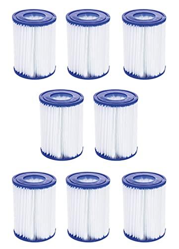 """YanBan Cartuchos de Filtro de Repuesto compatibles con Bestway Tipo II, para Filtro de bañera de hidromasaje Lay-Z SPA, 4.2"""", 5.4"""", Paquete de 8 filtros de Bomba de Piscina para Bestway II 58094"""