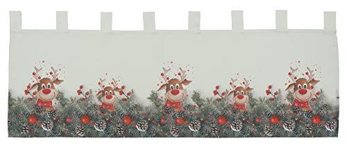 Scheibengardine Weihnachtsgardine Panneau Weihnachten Bistrogardine Gardine Elch rote Nase 100% Polyester Blickdicht (45 x 120 cm)