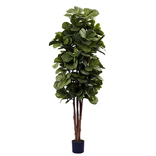 Nearly Natural 6ft Fiddle Leaf Fig Artificial Trees, 72in, Green