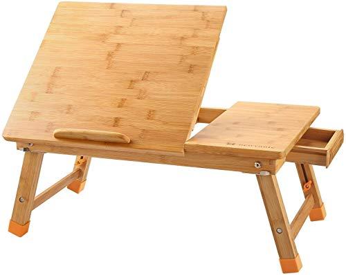 Burhetten Mesa de escritorio ajustable de bambú plegable para el desayuno, con cajón superior inclinable, tres tamaños (color: natural, tamaño: 23.6 x 15.7 pulgadas)