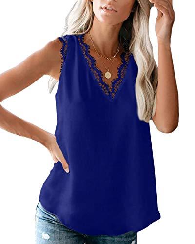 Camiseta de tirantes para mujer, de verano, sin mangas, de gasa, con encaje, elegante camisa, cuello en V, estilo informal Z-x-azul. XL