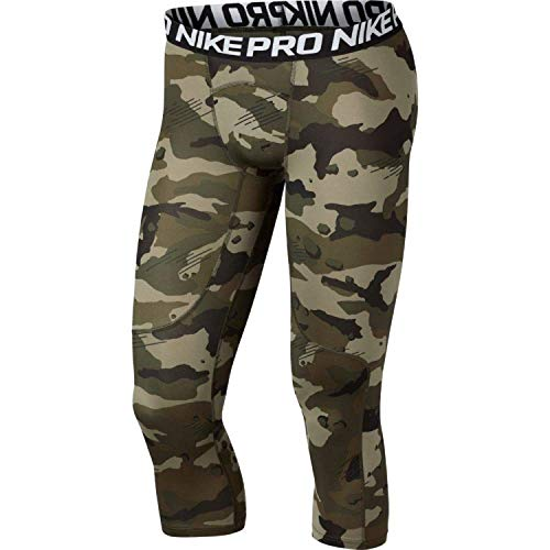 Nike Men's Pro 3/4 Length Camo Compression Tights (Olive Canvas/White, Large)
