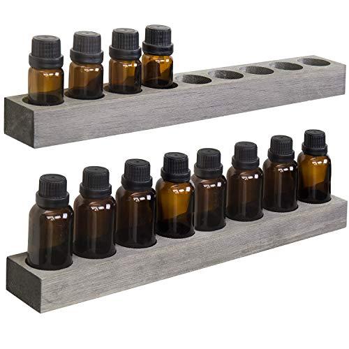 MyGift Wall Mountable/Tabletop Rustic Gray Wood Essential Oil Racks, Set of 2