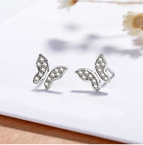 Nobranded Sterling Silver 925 Classic Fashion Silver Butterfly Inlaid Zircon Women's Earrings