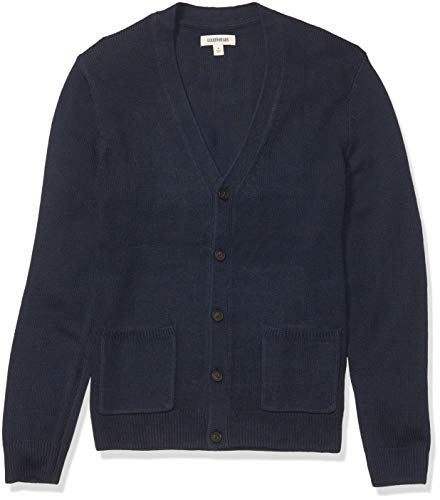 Amazon Brand - Goodthreads Men's Supersoft Marled Cardigan Sweater, Navy Large