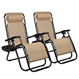 Homall Zero Gravity Chair Adjustable Folding Lawn Lounge Chairs Outdoor Lounge Gravity Chair Camp Reclining Lounge Chair with Pillows for Poolside Backyard and Beach Set of 2 (Cream-Coloured)