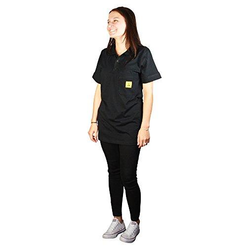 Wetec ESD-Polo-Shirt light, mit schwarzem Kragen, Größe L, schwarz