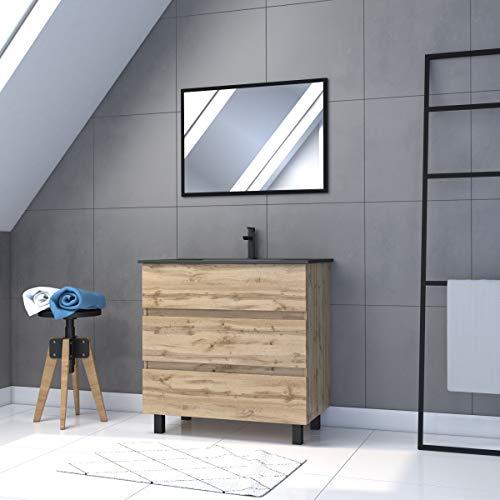 Conjunto de baño con cajón/lavabo de cerámica y espejo negro, 80 x 80 cm, roble natural