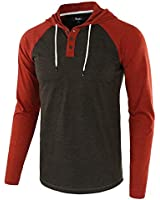 Estepoba Mens Casual Athletic Fit Lightweight Active Sports Jersey Shirt Hoodie Heather Charcoal/Rusty XXL