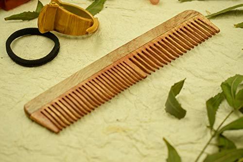 SVATV Peigne en bois de margousier fabriqué à la main N-79 (17,8 x 5,1 cm)