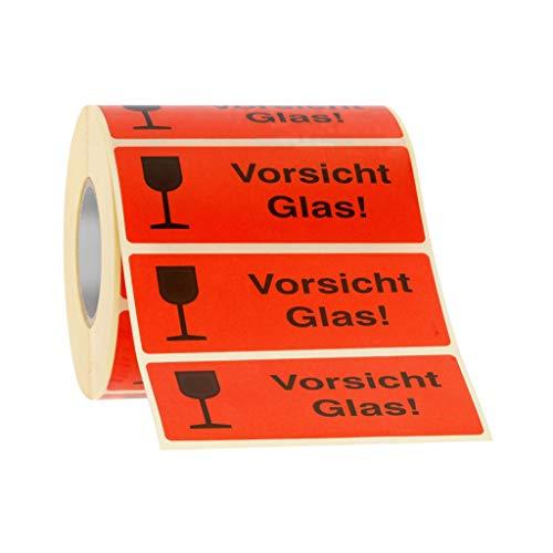 Etiketten Aufkleber Vorsicht Glas rot 1000 Stück 90x35mm Warnetikett auf Rolle 593101