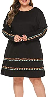 Wwucaihufafa Large size women short paragraph long-sleeved round neck knit dress new pattern (Color : Black, Size : 5XL)