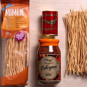 Set Nudeln mit Bolognese glutenfrei - 1x 510g aus Bolognese Soße ohne Konservierungsmittel, 1x 150g Tomatenmark 28-30% und 1x 200g Spaghetti aus Kichererbsen (Glutenfrei, Vega)