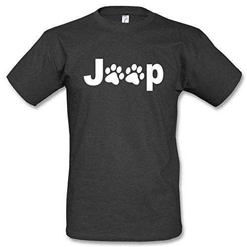 Jeep Dogs Footsteps T-Shirt Schwarz Blau Gelb Grün (S, Schwarz/Weiss)